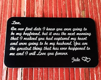 Custom Wallet Insert, Engraved Wallet Card, Personalized Wallet Insert, Metal Wallet Insert, Valentines Day Gift, Anniversary Gift