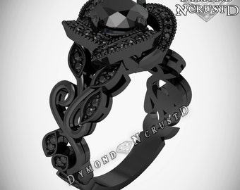 blackout rose flower style black diamonds black rhodium or black gold bridal engagement ring - All Black Wedding Rings