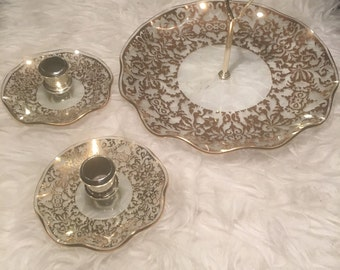 Cake Plate & Candle Sticks