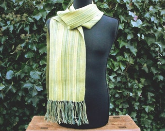 hand-woven Leinenschal, 1.80 m x 0.25 m plus fringes, one of a kind Green Green Green,