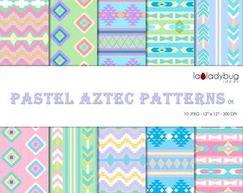 Pastel Aztec Patterns digital paper (AZ003). Instant download background.