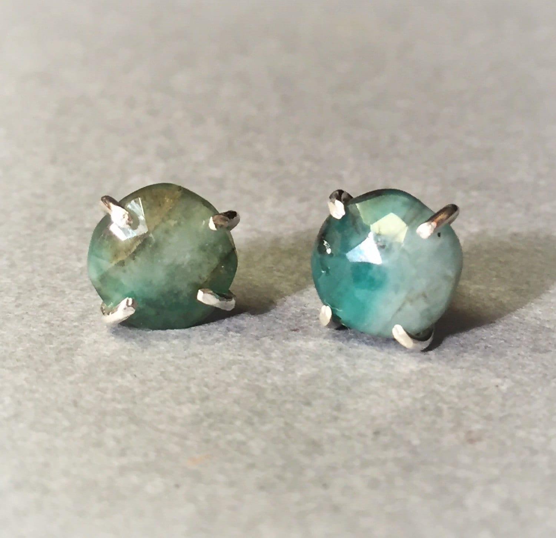 Raw Emerald Stud Earrings Raw Emerald Studs Natural Emerald