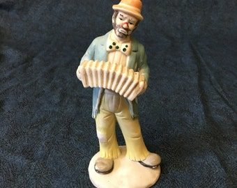 Vintage Emmett Kelly Jr Collection Clown with Accordion Figurine by Flambro