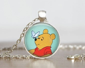 "Winnie the Pooh Necklace Winnie the Pooh Jewelry Pooh Bear Jewelry Glass Tile Pendant Winnie Pooh Milne Necklace 1"" Silver Round Milne"