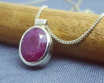 Sterling Silver Oval Ruby Necklace
