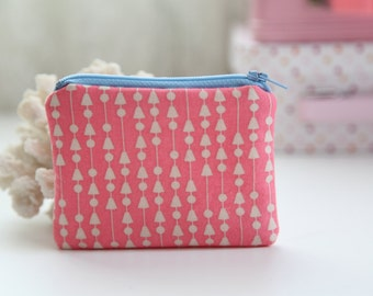 Mini Triangles Coin Zipper Purse, FREE SHIPPING with another purchase, Padded Purse, Coin Pouch, Change Purse, Zipper Pouch, Little Purse