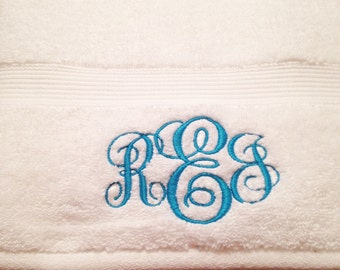 White Monogrammed Bath Towels