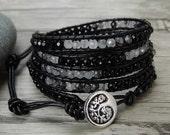 Black Wrap bracelet agate bead bracelet Rutile Quartz bracelet boho Leather wrap bracelet gemstone bracelet leather bead Jewelry SL-0419