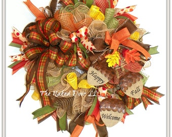 Fall Welcome Wreath - Thanksgiving Welcome Wreath - Happy Fall Wreath - Welcome Wreath - Fall Burlap Wreath - Fall Wreath - Fall Decor