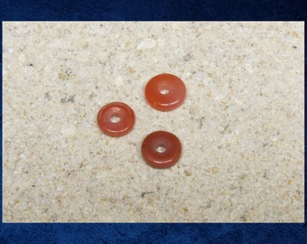 Carnelian - 3 Small donut ring 10mm natural red orange gemstone beads. #CARN-030
