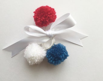 Three pompom rings in red, white and blue patriotic, Union Jack, Stars and Stripes, french flag!