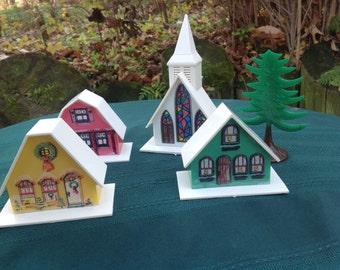 Vintage Christmas Decor Church Chalet Barn Putz