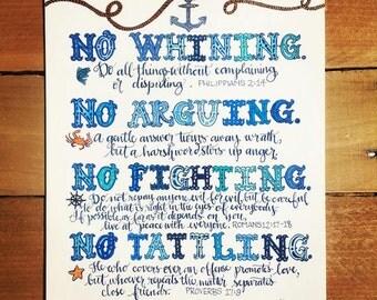 Bible Verse print - hand drawn, Anchor Theme, 4 Rules To Follow