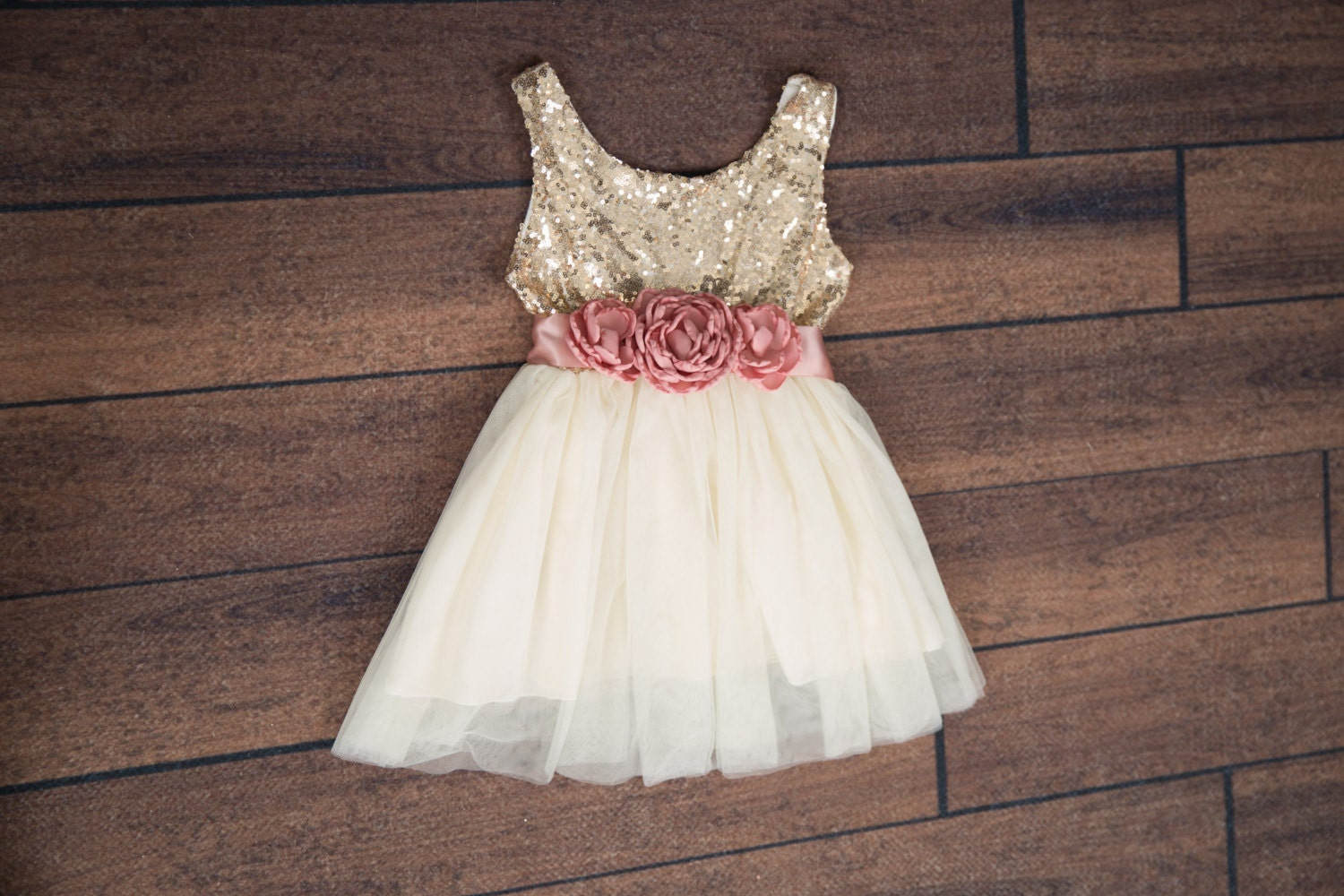 Rose Flower Girl Dress Gold sequin dress Cream Tulle Gold