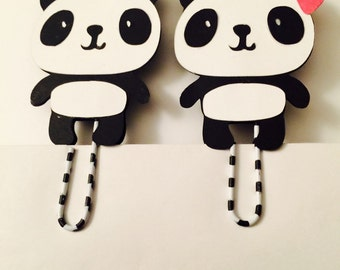 Pair panda bookmark, paperclip,