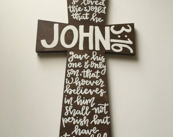 John 3:16 for God so loved the world bible verse on wooden cross