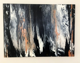 Large Abstract Wall Art 30x40 marble acrylic painting, Original art by Krystal Michelle, black tan white, Large Abstact painting, Marbleized