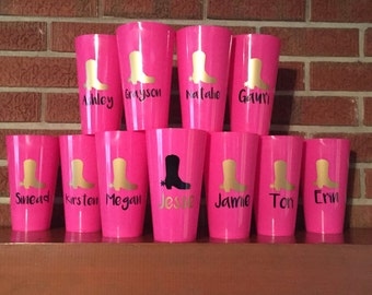 Cowgirl Boots Bachelorette/Girls Weekend Cups with Names
