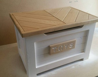 Handmade Wooden Toy Box Chest With Oak Top Ottoman Painted