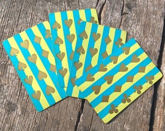 Vintage Playing Cards (4) Aqua and Green Stripe Gold Suits Retro Playing Cards Single Swap Cards Vintage Craft Vintage Ephemera Smash Book