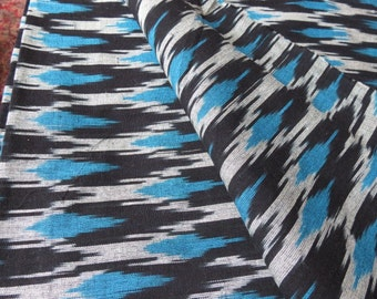 Black and Blue Ikat Fabric