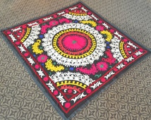 Handmade Colorful Suzani Bedspread - Table Cover Free Shipping