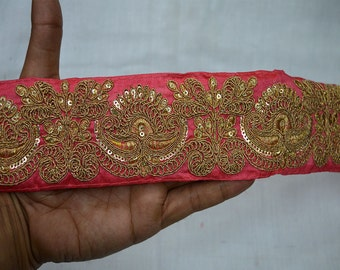 Wholesale Red Trim Embroidered Trim Gold Thread Work Silk Sari Fabric Border Trim By The Yard Art Quilt Fabric Trim Craft Ribbon