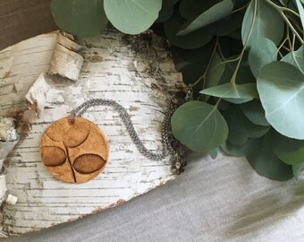 Polymer clay Pendant | Leaf Imprint | Handmade | Necklace
