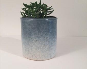 Blue ceramic planter handmade. Succulent planter. Plant pot.