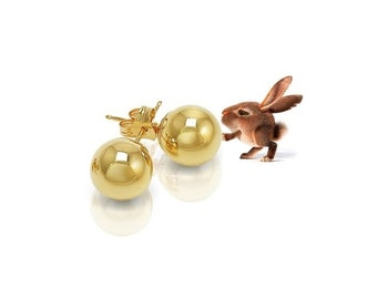 10K Gold Ball Stud Earrings 6mm