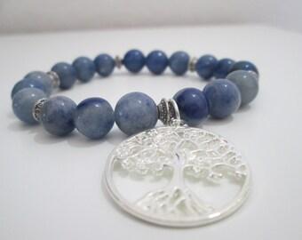 Aventurine,Aventurine stretch gemstone bracelet,Woman bracelet,Tree of life,Gift,Gift for woman,Gift for her,Gemstone bracelet,Blue