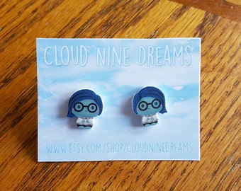 Inside Out Inspired Sadness Earrings