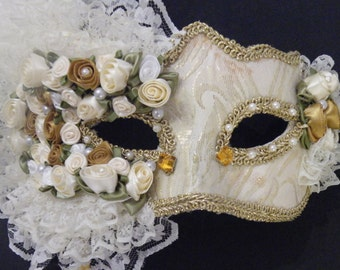 Ivory and Gold Venetian Wedding Masquerade Mask, Mardi Gras Masquerade Mask, Feather and Lace Design.