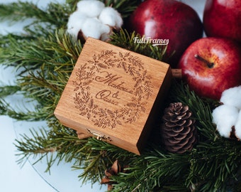 Wedding ring box in winter style // Engraved wooden box for rings // Custom wedding ring box
