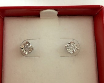 Vintage Style Sterling Silver and Diamond Stud Earrings / 0.10 ctw carats each 1/10 ctw