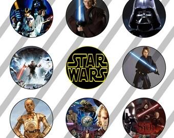 Star Wars digital collage sheet 4x6 for bottlecaps - 1 inch - INSTANT DOWNLOAD