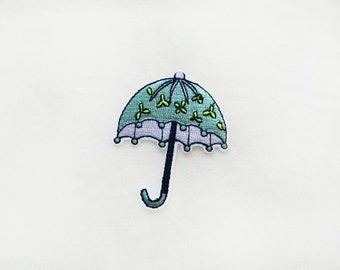 1x Umbrella patch -  Iron On  embroidered Applique mint green white blue rain very cute kawaii