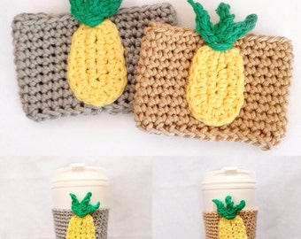 Pineapple cup cozy, pineapple coffee cozy, drink cozy, cup cozy