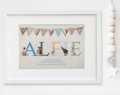 Personalised New Baby Boy/Girl Peter Rabbit BeatrixPotter Nursery Birth Name Print Keepsake Picture Christening Gift