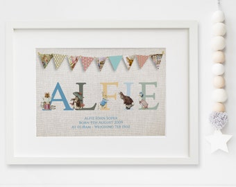 Personalised New Baby Boy/Girl Peter Rabbit BeatrixPotter Nursery Birth Name Print Keepsake Picture Christening Gift