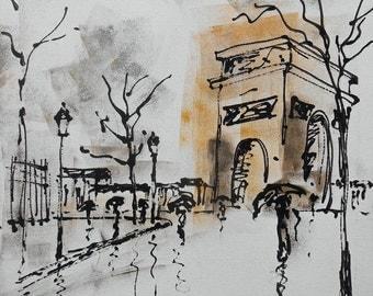 """Painting """"Paris Arc de triomphe"""""""