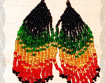 "African Rasta Colors Peyote Earrings ""Arawak Collection""by Jahsmine Art"