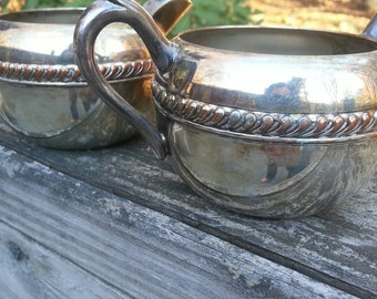 Silver plate on copper F B rogers creamer and sugar bowl