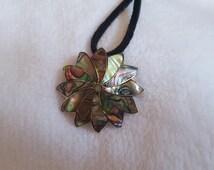 Vintage retro 70s mexico southwestern abalone sunburst flower sterling silver pin brooch pendant