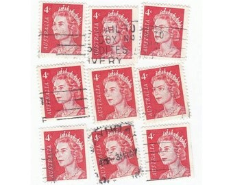 Red Australian 4c stamps, postage stamps - Vintage used Stamps