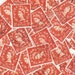 Orange English postage stamps - 50 Vintage used Stamps, GB, England, Wildings, 1950s philatelic