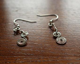 Double swirl dangle earrings
