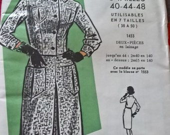 "UNCUT Fabulous 60's french vintage sewing pattern-""Patrons Modes & Travaux"" 1453 suit (jacket,skirt) woman sizes 40-44-48 /size 12-16-20"