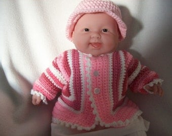 Baby Girls Sweater,Striped multi pink colors,Size 6 months,Hand Crochet.with 3 buttons