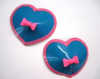 Heart Latex Pasties with Bow and Trim